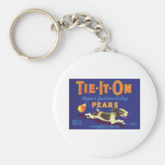Vintage Pears Food Product Label Basic Round Button Key Ring