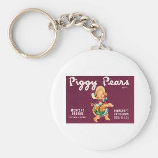 Vintage Pears Food Product Label Keychains