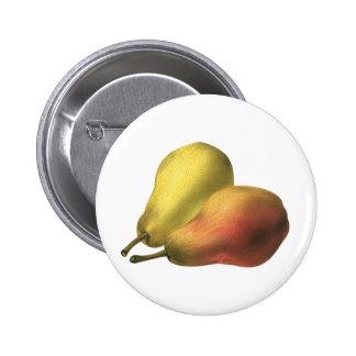 Vintage Pears, Organic Foods, Ripe Fruit 6 Cm Round Badge