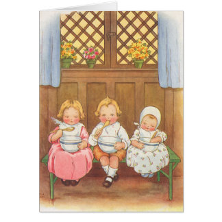 Vintage Pease Porridge Hot Childrens Nursery Rhyme Card