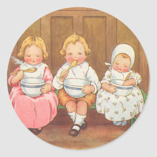 Vintage Pease Porridge Hot Childrens Nursery Rhyme Classic Round Sticker