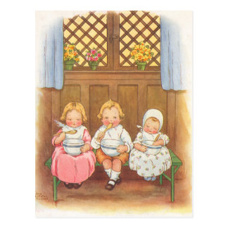 Vintage Pease Porridge Hot Childrens Nursery Rhyme Postcard