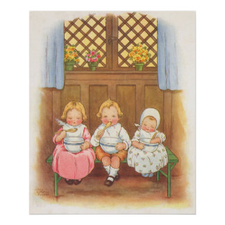 Vintage Pease Porridge Hot Childrens Nursery Rhyme Poster