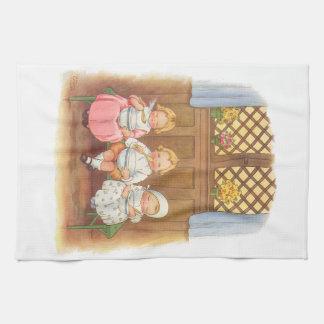 Vintage Pease Porridge Hot Childrens Nursery Rhyme Tea Towel