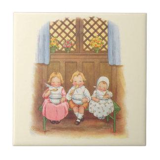 Vintage Pease Porridge Hot Childrens Nursery Rhyme Ceramic Tile