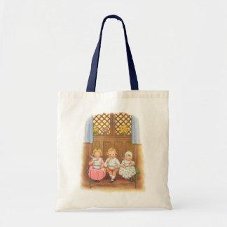 Vintage Pease Porridge Hot Childrens Nursery Rhyme Budget Tote Bag