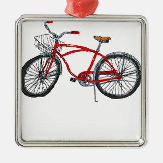 Vintage Pedal Power Bicycle Drawing Silver-Colored Square Decoration