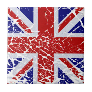 Vintage Peeling Paint Union Jack Flag Small Square Tile