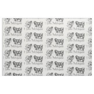 Vintage Pekingese Sketch Fabric