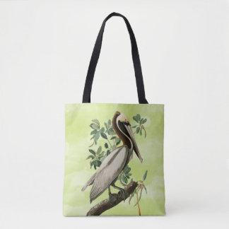 Vintage Pelican Illustration on Green Tote Bag