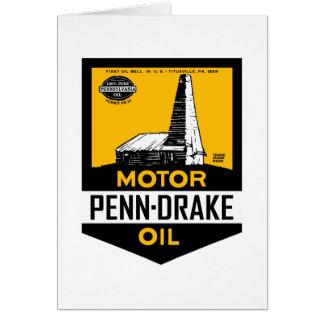Vintage Penn Drake Motor Oil sign Greeting Card