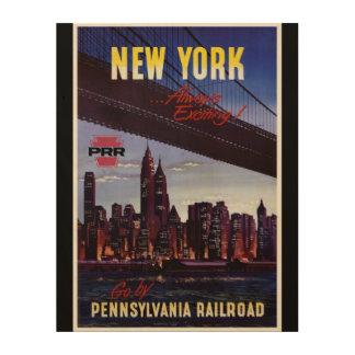 Vintage Pennsylvania Railroad to New York Wood Wall Decor