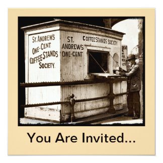 Vintage Penny Cup of Coffee Stand 13 Cm X 13 Cm Square Invitation Card