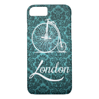 Vintage Penny-Farthing Bicycle in London Pillow iPhone 7 Case