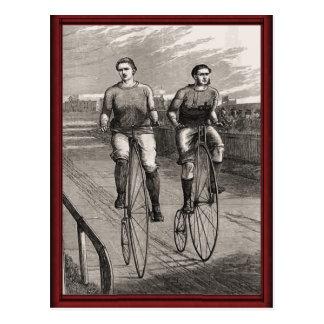 Vintage pennyfarthing race postcard