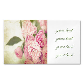 Vintage,peonies,girly,trendy,victorian,pattern,fun Magnetic Business Cards (Pack Of 25)