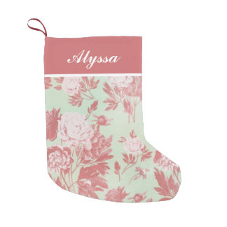 Vintage Peonies Personalized Small Christmas Stocking