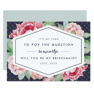 Vintage Peony Be My Bridesmaid Card | Navy