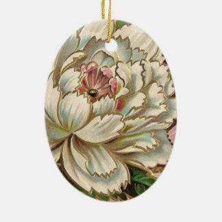 Vintage Peony Flower Ceramic Oval Decoration