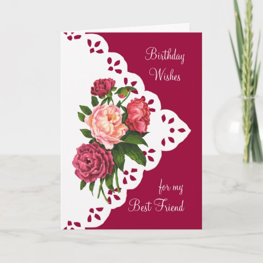 Vintage Peony Flower For Best Friend Birthday Card