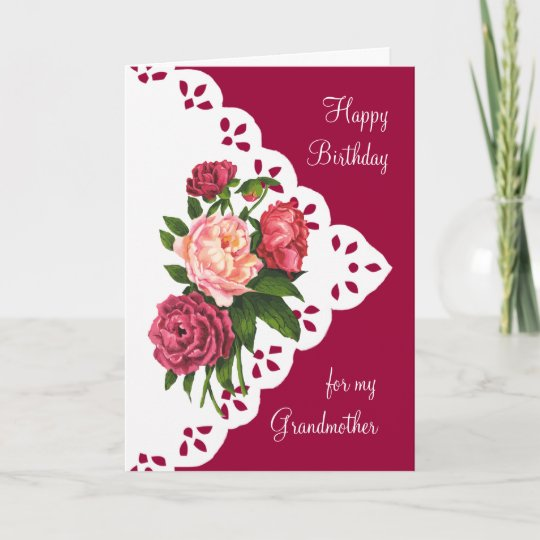 Vintage Peony Flower For Grandmother Birthday Card