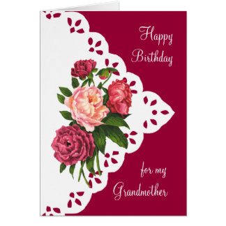 Vintage Peony Flower for Grandmother Birthday Card