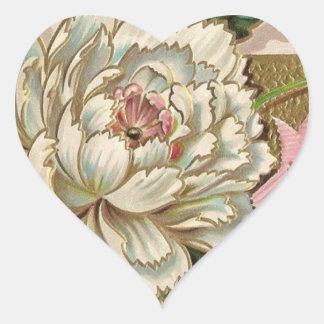 Vintage Peony Flower Heart Sticker