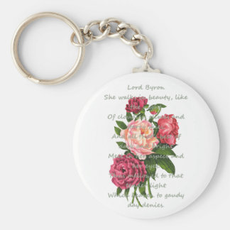 Vintage Peony Flowers Romantic Byron Poem Key Ring