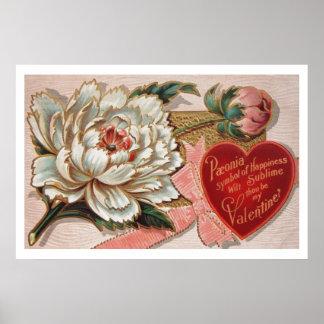 Vintage Peony Valentine Poster