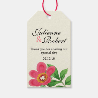 """Vintage Peony wedding """"Thank You"""" favour gift tag"""