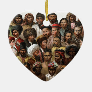 Vintage 'Peoples of Asia' C19 engraving Ceramic Heart Decoration