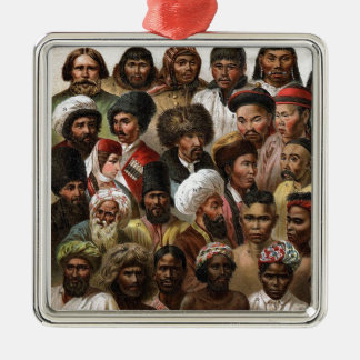 Vintage 'Peoples of Asia' C19 engraving Christmas Ornament