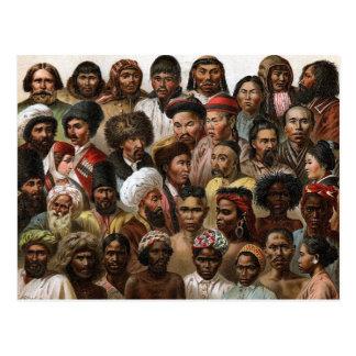 Vintage 'Peoples of Asia' C19 engraving Postcard