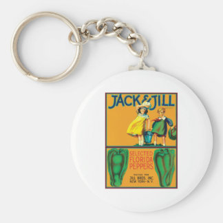 Vintage Peppers Food Product Label Keychain