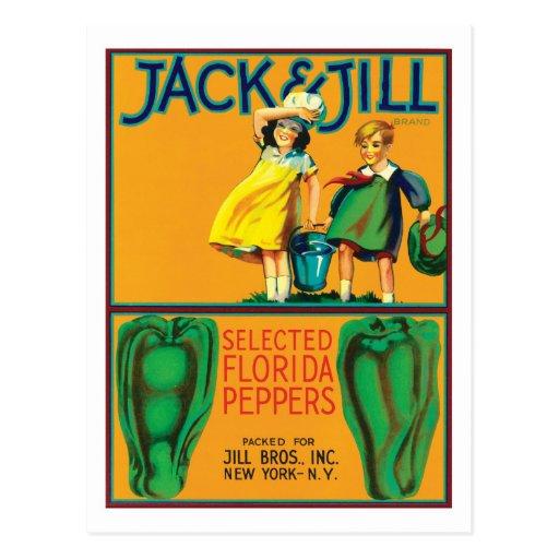 Vintage Peppers Food Product Label Postcards
