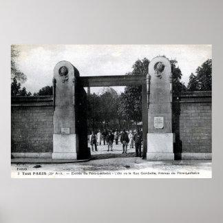 Vintage Pere Lachaise Cemetery, Paris, France Poster