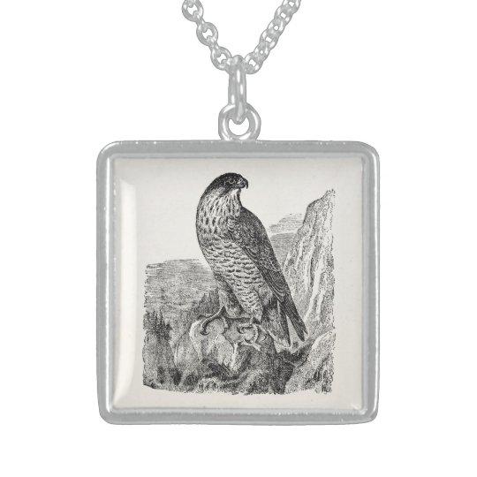 Vintage Peregrine Falcon Personalised Retro Birds Sterling Silver Necklace