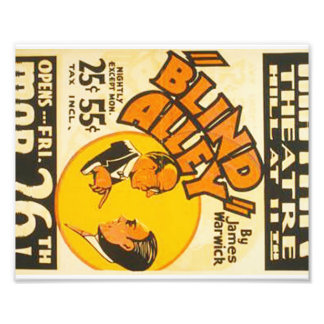 """Vintage Performing Arts """"Blind Alley"""" WPA Poster Photo"""