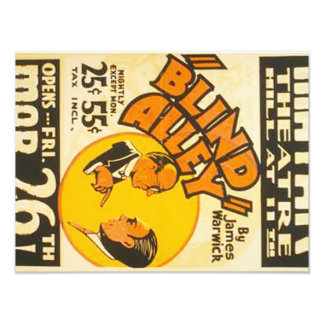 "Vintage Performing Arts ""Blind Alley"" WPA Poster Photograph"