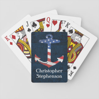 Vintage Personalized American Flag Anchor Nautical Playing Cards
