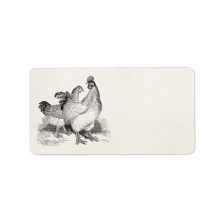 Vintage Personalized Chicken Rooster Cochin Birds Label