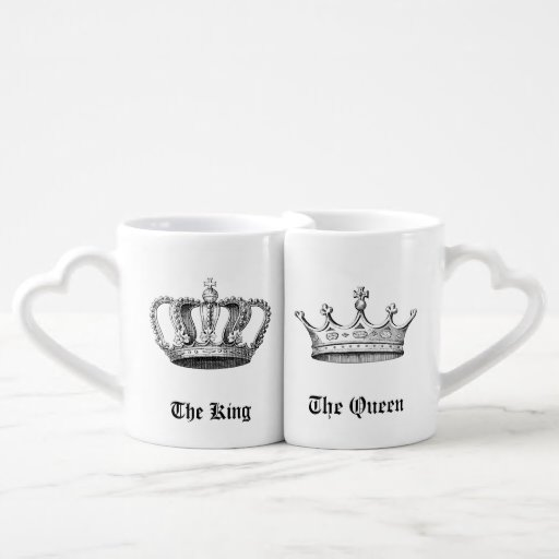 Vintage Personalized King and Queen Crowns Lovers Mug