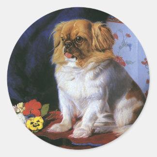 Vintage Pet Animals, Toy Pekingese Dog Round Sticker