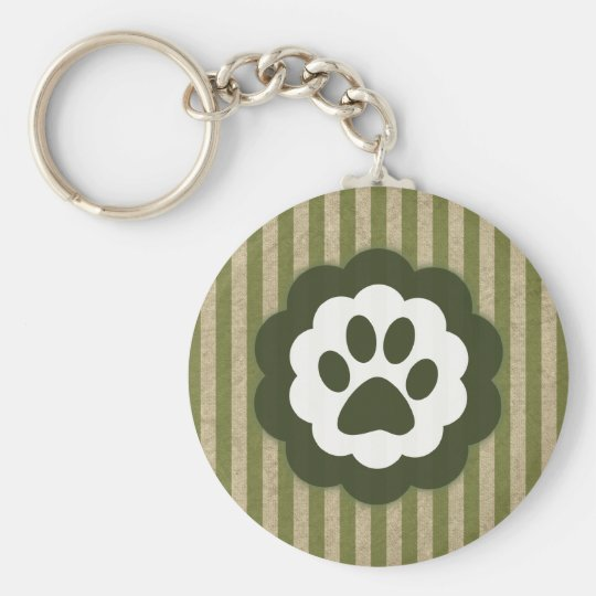 vintage pet paw basic round button key ring