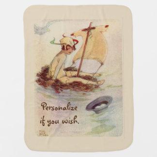 Vintage Peter Pan on nest raft - beige background Receiving Blankets