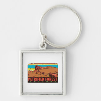 Vintage Petrified Forest Arizona AZ State Label Silver-Colored Square Key Ring