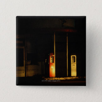 Vintage petrol pumps at night, Riddle, Oregon, 15 Cm Square Badge