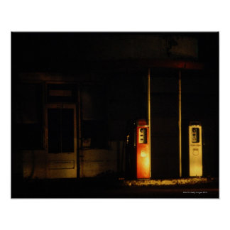 Vintage petrol pumps at night, Riddle, Oregon, Poster