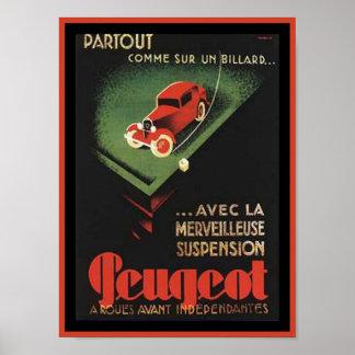 Vintage Peugeot Ad - Partout Comme sur un billard Poster