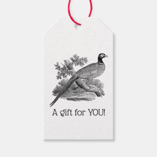 Vintage Pheasant Game Bird Drawing BW Gift Tags